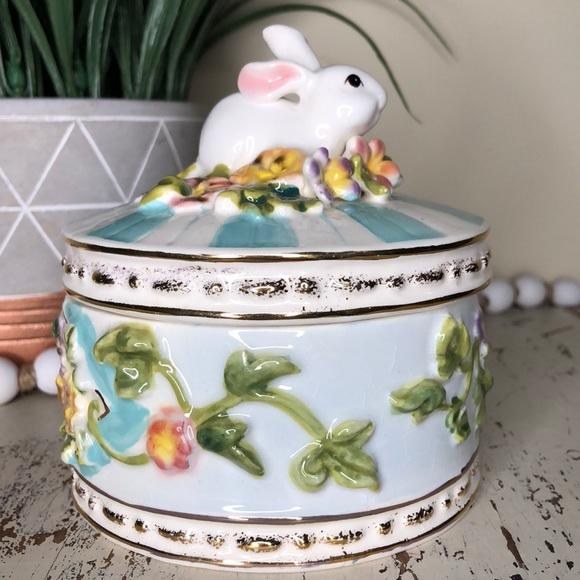 Bunny Covered Trinket Dish